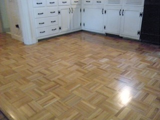 Red Oak Parquet Residential Hardwood Flooring, Refinished And Top Coat With  3 Coats Of Absco Semi Gloss. Waltham, Massachusetts