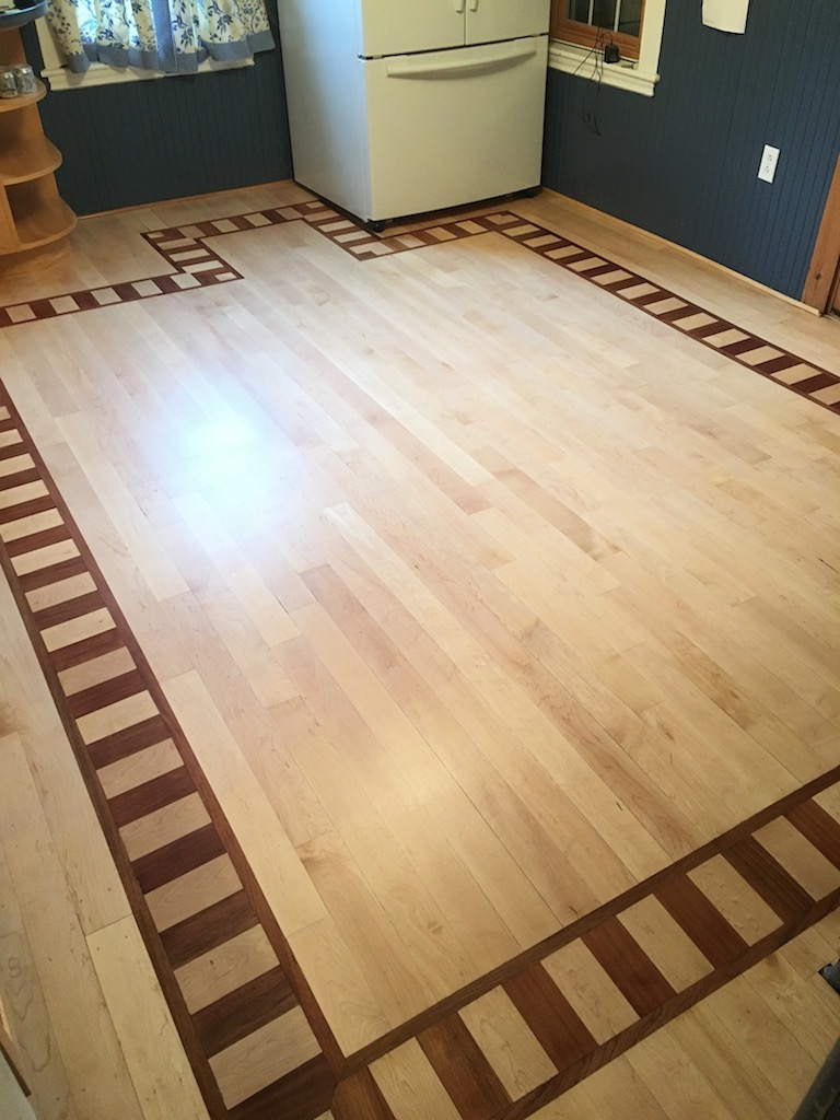 3 1 4 Clear Canadian Maple Hardwood Flooring With Custom Border Top Coated Loba Supra At Advance Technology Ceramic Water Base Polyurethane