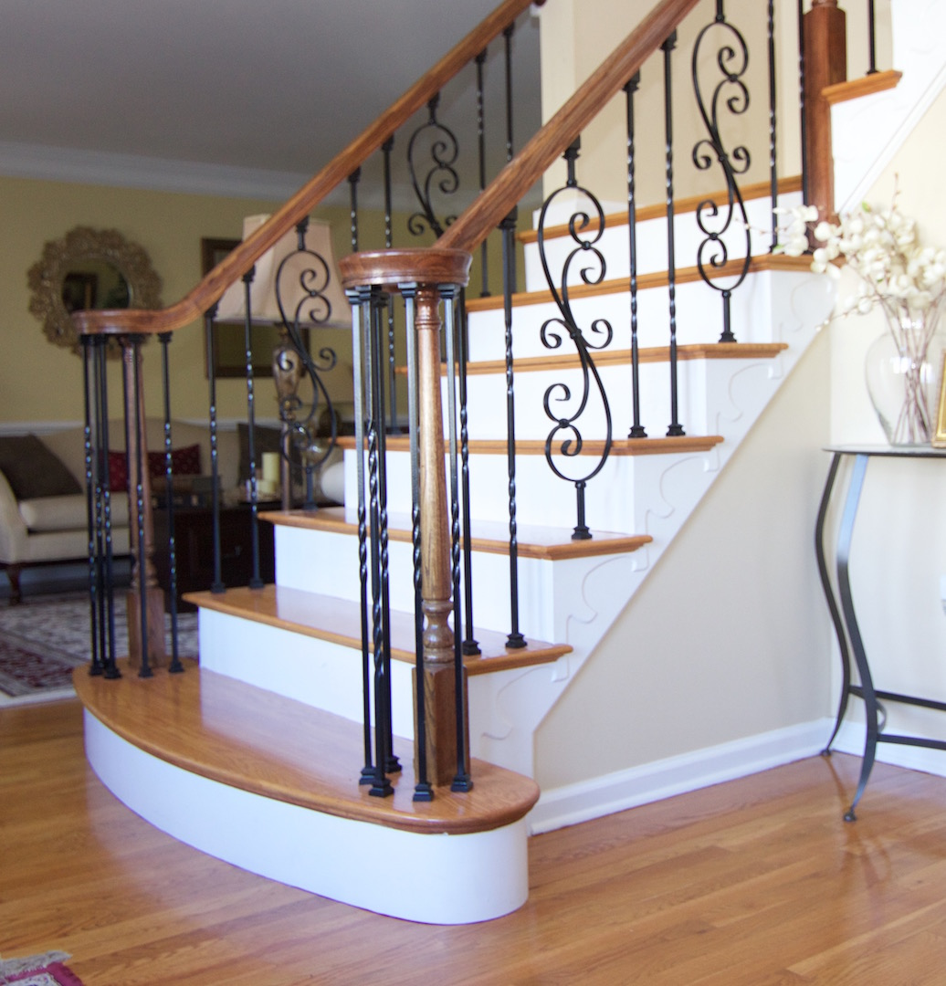 White Oak Stairs With Gunstock Stain And Mahogany Stained Handrail. Sharon,  Ma.