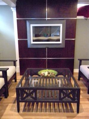 Sitting Area,  Fireplace Surround stained with Brown Mahogany wood dye, Bamboo Flooring